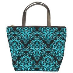 Damask1 Black Marble & Turquoise Colored Pencil (r) Bucket Bags by trendistuff