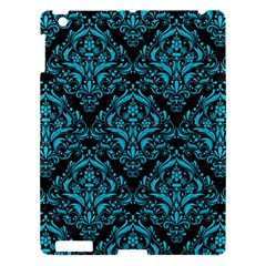 Damask1 Black Marble & Turquoise Colored Pencil (r) Apple Ipad 3/4 Hardshell Case by trendistuff