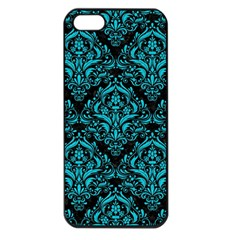 Damask1 Black Marble & Turquoise Colored Pencil (r) Apple Iphone 5 Seamless Case (black) by trendistuff