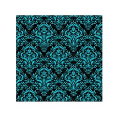 Damask1 Black Marble & Turquoise Colored Pencil (r) Small Satin Scarf (square) by trendistuff