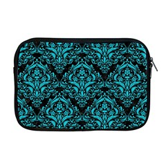 Damask1 Black Marble & Turquoise Colored Pencil (r) Apple Macbook Pro 17  Zipper Case by trendistuff