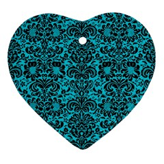 Damask2 Black Marble & Turquoise Colored Pencil Ornament (heart)