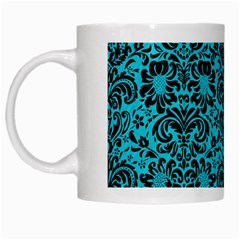 Damask2 Black Marble & Turquoise Colored Pencil White Mugs by trendistuff
