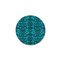 Damask2 Black Marble & Turquoise Colored Pencil Golf Ball Marker