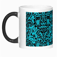 Damask2 Black Marble & Turquoise Colored Pencil Morph Mugs by trendistuff