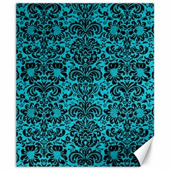 Damask2 Black Marble & Turquoise Colored Pencil Canvas 8  X 10  by trendistuff