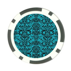 Damask2 Black Marble & Turquoise Colored Pencil Poker Chip Card Guard