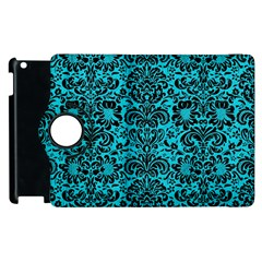 Damask2 Black Marble & Turquoise Colored Pencil Apple Ipad 3/4 Flip 360 Case by trendistuff
