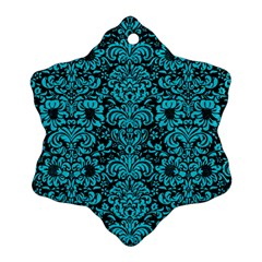 Damask2 Black Marble & Turquoise Colored Pencil (r) Ornament (snowflake) by trendistuff