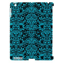 Damask2 Black Marble & Turquoise Colored Pencil (r) Apple Ipad 3/4 Hardshell Case (compatible With Smart Cover) by trendistuff