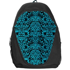 Damask2 Black Marble & Turquoise Colored Pencil (r) Backpack Bag by trendistuff