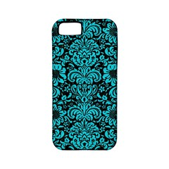 Damask2 Black Marble & Turquoise Colored Pencil (r) Apple Iphone 5 Classic Hardshell Case (pc+silicone) by trendistuff