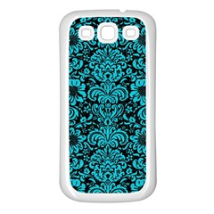 Damask2 Black Marble & Turquoise Colored Pencil (r) Samsung Galaxy S3 Back Case (white) by trendistuff