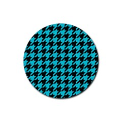 Houndstooth1 Black Marble & Turquoise Colored Pencil Rubber Round Coaster (4 Pack)