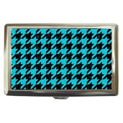 Houndstooth1 Black Marble & Turquoise Colored Pencil Cigarette Money Cases by trendistuff