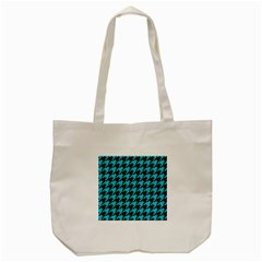 Houndstooth1 Black Marble & Turquoise Colored Pencil Tote Bag (cream) by trendistuff