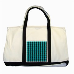 Houndstooth1 Black Marble & Turquoise Colored Pencil Two Tone Tote Bag by trendistuff