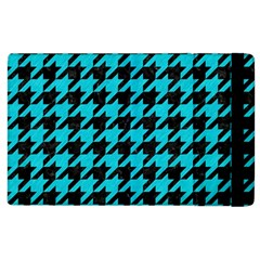 Houndstooth1 Black Marble & Turquoise Colored Pencil Apple Ipad 3/4 Flip Case by trendistuff
