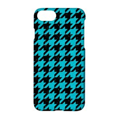 Houndstooth1 Black Marble & Turquoise Colored Pencil Apple Iphone 8 Hardshell Case by trendistuff