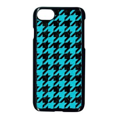 Houndstooth1 Black Marble & Turquoise Colored Pencil Apple Iphone 8 Seamless Case (black) by trendistuff