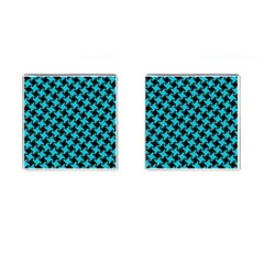 Houndstooth2 Black Marble & Turquoise Colored Pencil Cufflinks (square) by trendistuff