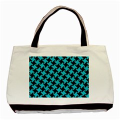 Houndstooth2 Black Marble & Turquoise Colored Pencil Basic Tote Bag by trendistuff