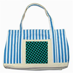 Houndstooth2 Black Marble & Turquoise Colored Pencil Striped Blue Tote Bag by trendistuff