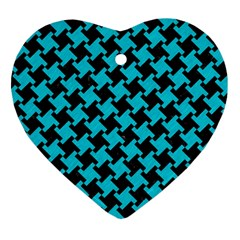 Houndstooth2 Black Marble & Turquoise Colored Pencil Heart Ornament (two Sides) by trendistuff