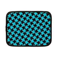 Houndstooth2 Black Marble & Turquoise Colored Pencil Netbook Case (small)  by trendistuff