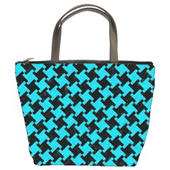 Houndstooth2 Black Marble & Turquoise Colored Pencil Bucket Bags by trendistuff