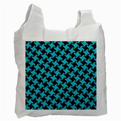 Houndstooth2 Black Marble & Turquoise Colored Pencil Recycle Bag (one Side) by trendistuff