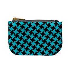 Houndstooth2 Black Marble & Turquoise Colored Pencil Mini Coin Purses by trendistuff