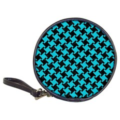 Houndstooth2 Black Marble & Turquoise Colored Pencil Classic 20 Cd Wallets by trendistuff