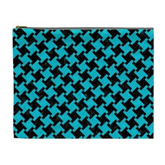 Houndstooth2 Black Marble & Turquoise Colored Pencil Cosmetic Bag (xl) by trendistuff