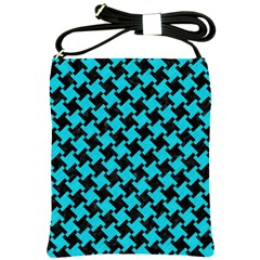 Houndstooth2 Black Marble & Turquoise Colored Pencil Shoulder Sling Bags by trendistuff