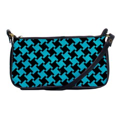 Houndstooth2 Black Marble & Turquoise Colored Pencil Shoulder Clutch Bags by trendistuff