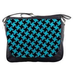 Houndstooth2 Black Marble & Turquoise Colored Pencil Messenger Bags by trendistuff