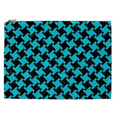 Houndstooth2 Black Marble & Turquoise Colored Pencil Cosmetic Bag (xxl)  by trendistuff