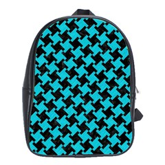 Houndstooth2 Black Marble & Turquoise Colored Pencil School Bag (xl) by trendistuff