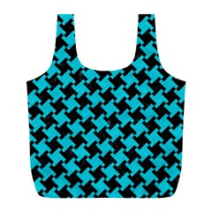 Houndstooth2 Black Marble & Turquoise Colored Pencil Full Print Recycle Bags (l)  by trendistuff