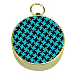 Houndstooth2 Black Marble & Turquoise Colored Pencil Gold Compasses by trendistuff