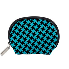 Houndstooth2 Black Marble & Turquoise Colored Pencil Accessory Pouches (small)  by trendistuff