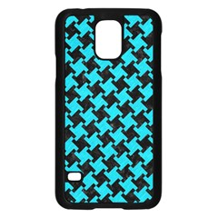 Houndstooth2 Black Marble & Turquoise Colored Pencil Samsung Galaxy S5 Case (black) by trendistuff