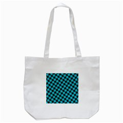 Houndstooth2 Black Marble & Turquoise Colored Pencil Tote Bag (white) by trendistuff