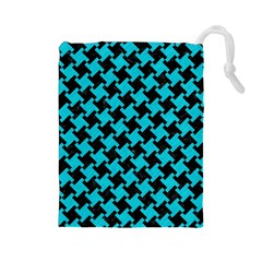 Houndstooth2 Black Marble & Turquoise Colored Pencil Drawstring Pouches (large)  by trendistuff