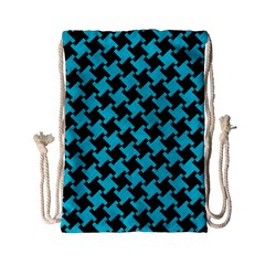 Houndstooth2 Black Marble & Turquoise Colored Pencil Drawstring Bag (small) by trendistuff