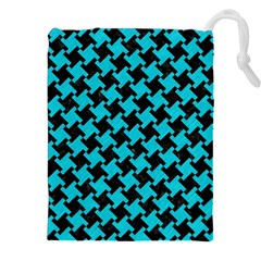 Houndstooth2 Black Marble & Turquoise Colored Pencil Drawstring Pouches (xxl) by trendistuff