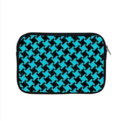 Houndstooth2 Black Marble & Turquoise Colored Pencil Apple Macbook Pro 15  Zipper Case by trendistuff