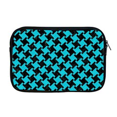 Houndstooth2 Black Marble & Turquoise Colored Pencil Apple Macbook Pro 17  Zipper Case by trendistuff