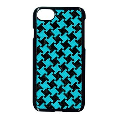Houndstooth2 Black Marble & Turquoise Colored Pencil Apple Iphone 8 Seamless Case (black) by trendistuff
